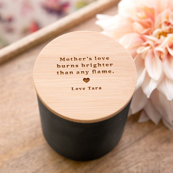 Engraved Mother's Day Black Wood Wick Soy Candle with Wooden Lid