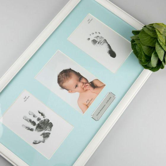 Personalised Engraved Blue Baby Boy triple photo frame Birthday Present