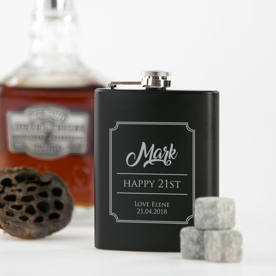 Personalised Engraved 21st Milestone Birthday Black Hip Flask Present