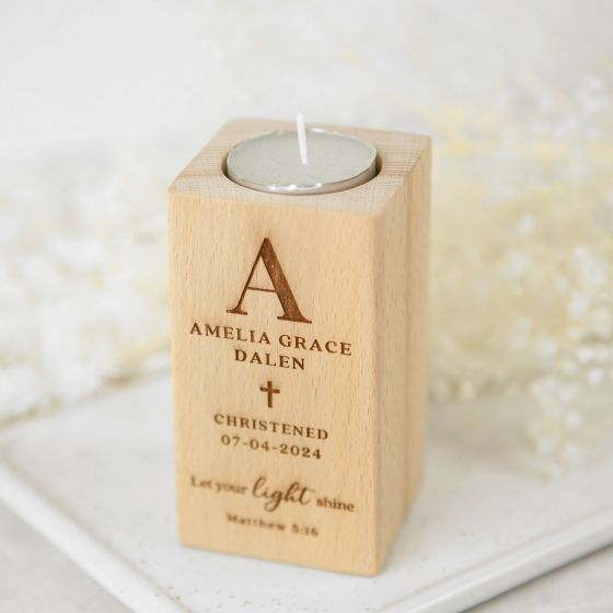 Personalised Engraved Wooden Tealight Holder Christening Baptism Gift