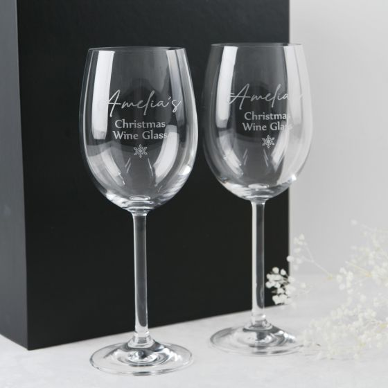 Personalised Engraved Christmas Twin Wine Glasses with Black Gift Box