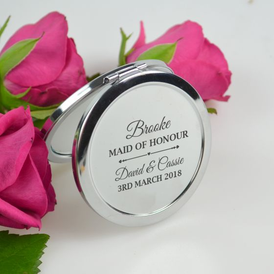 Personalised Engraved bridal party compact mirror gift