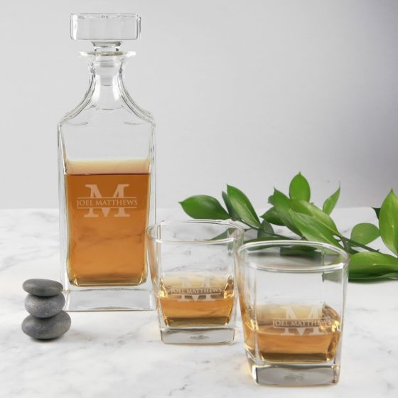 Personalised Engraved Corporate Whiskey Decanter and Scotch glass Set Gift