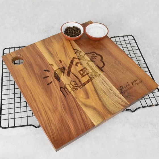 Personalised Engraved Corporate Logo Square Wooden Cheese Chopping Serving Board Employee or Client Promotional Gift