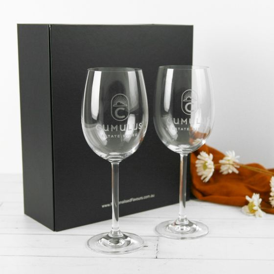Personalised Engraved Corporate Logo Wine Premium European Wine Glasses Client or Employee Gift