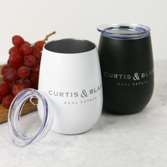 Personalised Engraved Corporate White & Black Wine Sipper with Lid