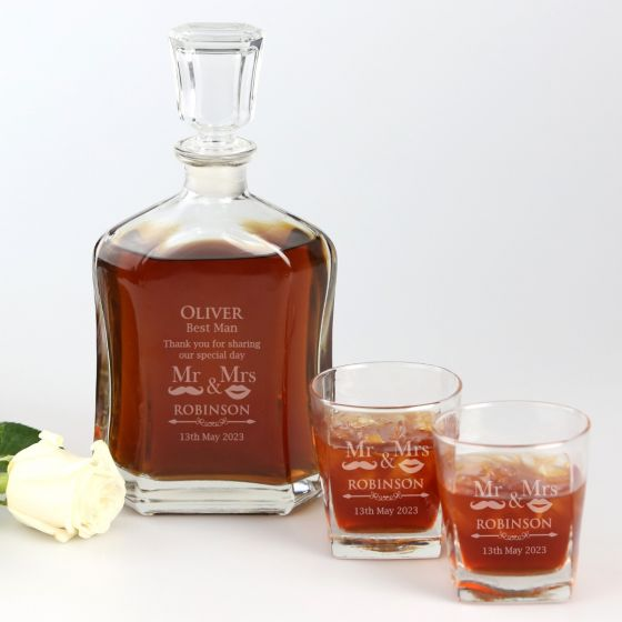Best Man Wedding Gift Scotch Glasses and Whiskey Decanter