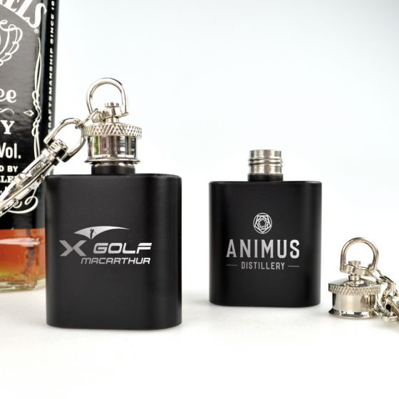 Personalised Engraved Corporate Logo Mini Black Hip Flask Keyring Promotional Client Gift