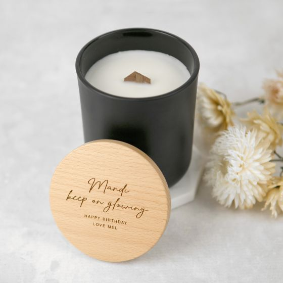 Engraved Birthday Black Wood Wick Soy Candle with Wooden Lid