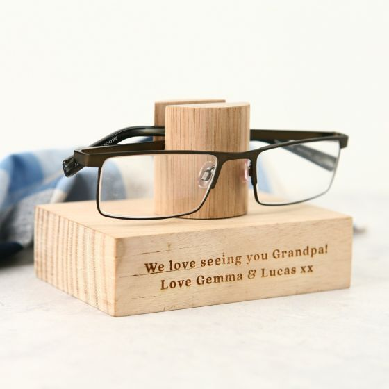 Personalised Engraved Father's Day Tasmanian Oak Reading Glasses Stand
