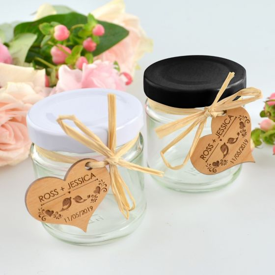 Black and White lid 100ml round wedding reception favour jars with personalised gift tag
