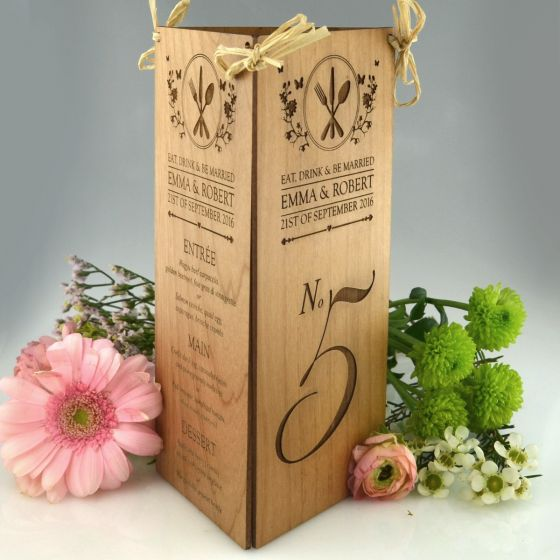 Personalised engraved wedding reception wooden menu and table number centrepiece