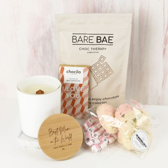Personalised Engraved Mother's Day Hamper Candle Coffee Scrub, Chocolate, Marshmallows & Candle Present
