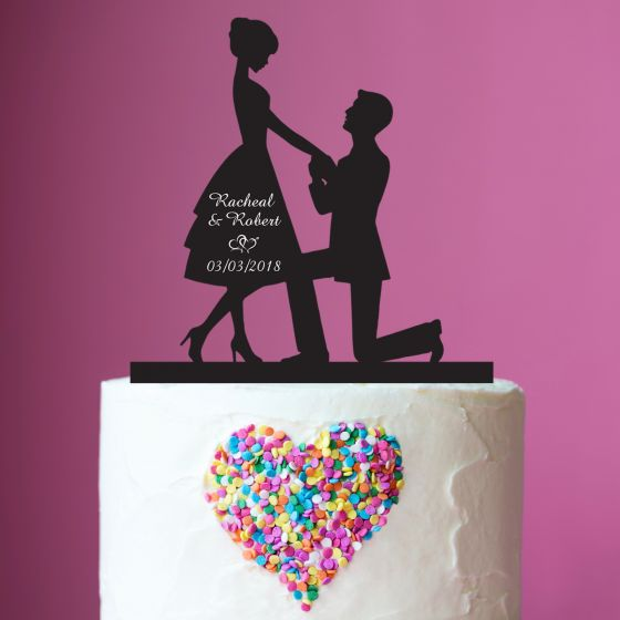 Black Proposal Silhouette with personalised bride & grooms names and wedding date Acrylic Cake Topper