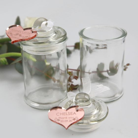 Round french tip jars with engraved personalised rose gold heart acrylic gift tag