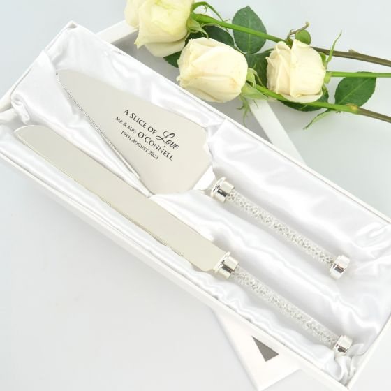 Engraved Crystal Stem Cake Wedding Serving Set