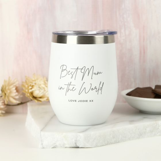Personalised Engraved Mother's Day White Coffee Keep Cup Wine Sipper Silver Rim Present