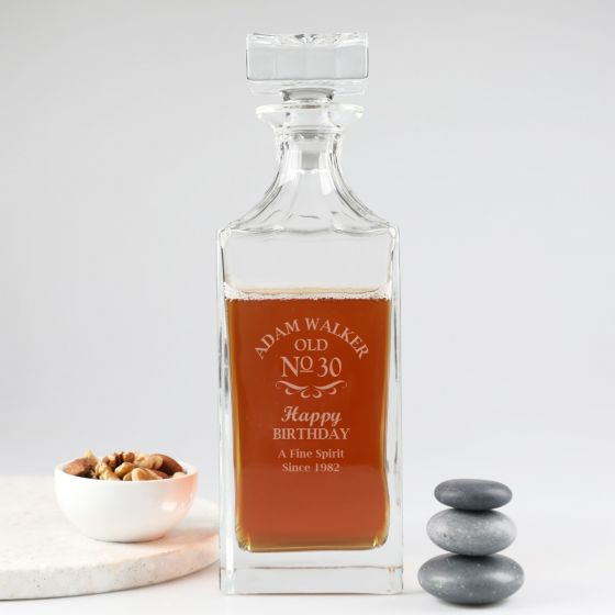Personalised Engraved High Quality Crystal Glass Square Base 30th Birthday Decanter Present