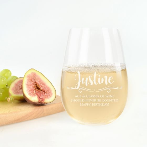 Personalised Engraved Stemless Premium Wine Glass Birthday Present