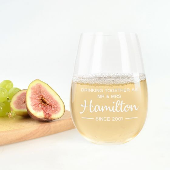 Personalised Engraved Anniversary Stemless wine Glass Present
