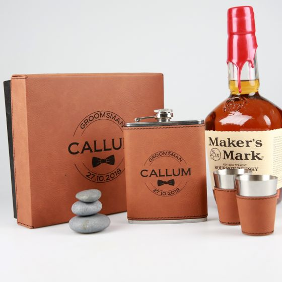 Personalised engraved Tan Leatherette bridal party Hip Flask Set include two shot glasses and leather bound gift box