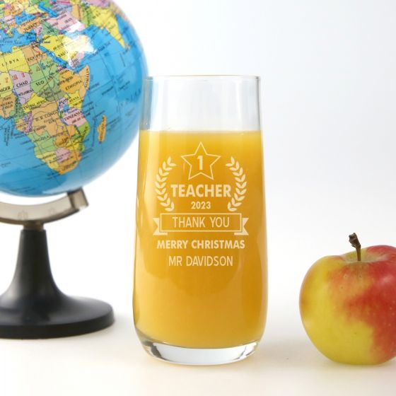 Personalised Engraved Number 1 Teacher Appreciation Water glass Present