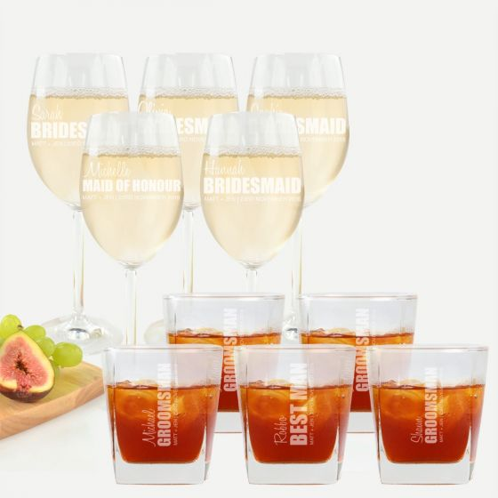 Personalised Engraved 5 x Bridesmaid Wine Glasses and 5 x groomsman Scotch Glasses