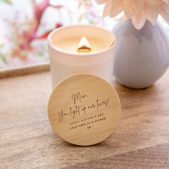 Personalised Engraved White Wood Wick Soy Candle with Wooden Lid Mother's Day Gift