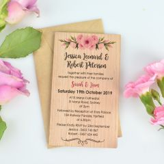 Personalised  11B Printed Wooden Wedding Invitation