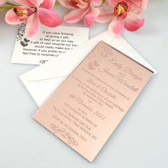 Personalised engraved rose gold 11B wedding invitation