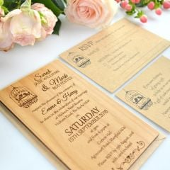 Personalised 11B Engraved Vertical Wooden Wedding Invitation with RSVP and Wishing well card