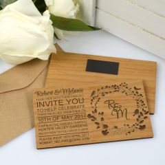 Personalised engraved horizontal wooden wedding invitation with magnet on the back