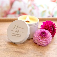 Personalised Engraved Mother's Day Wood Wick Soy Candle White Tin Present