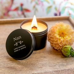 Personalised Engraved Mother's Day Wood Wick Soy Candle Black Tin Present