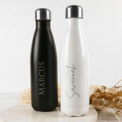 Personalised Professionally Laser Engraved name Birthday Water Metal Bottle in black and white.