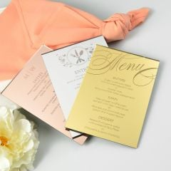 Personalised Engraved Rose Gold, Mirror Silver & Mirror Gold Acrylic Wedding Reception Menus