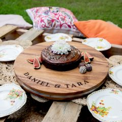 Personalised Engraved Deluxe Acacia Wood Round 40cm Serving Board Wedding Present