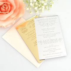 Engraved Personalised Mirror Gold & Silver 11B Wedding Invitations
