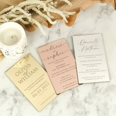 Custom Engraved 11B Gold, Rose Gold & Silver Acrylic Wedding Postponement Save the Date Cards