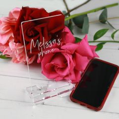 Personalised Engraved Clear Acrylic Smartphone Holder Birthday Present