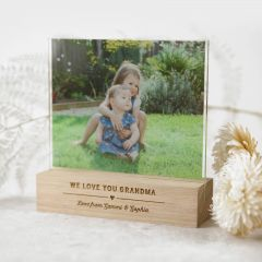 Personalised Colour Printed Acrylic Photo Print with Engraved Wooden Base