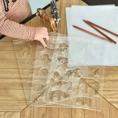 Personalised Engraved & Laser Cut Frosted Acrylic Animal Stencils Set of 3 with Wooden Pencils