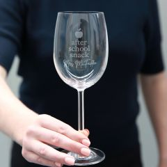 "Personalised Engraved ""After School Snack"" Teacher Christmas Wine Glass Present"