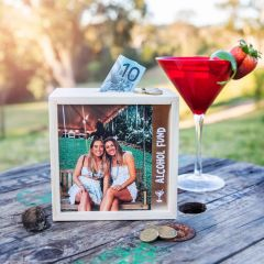 Photo Printed Alcohol Fund Wooden Money Box