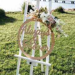 Laser Cut Always & Forever Bamboo Sign Wedding & Ceremony