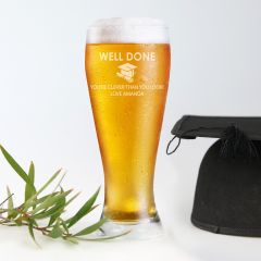 Personalised Engraved Graduation Beer Schooner Glass Present