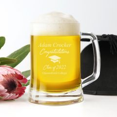 Personalised Engraved Graduation Glass Beer Stein Mug