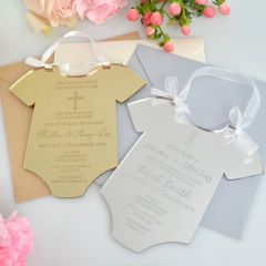 Personalised Engraved Mirror Gold & Silver Baby Shape Acrylic Invitation
