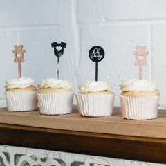 Personalised Laser Cut & Engraved Wooden & Acrylic baby Shower Cupcake Toppers