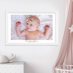 Wall Hanging Acrylic Newborn Christening Photo Print in Wooden Frame Present